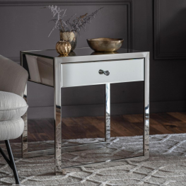 Gal Cutler 1 Drawer Mirrored Side Table