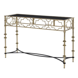 Black and Gold Quatrefoil Console Table