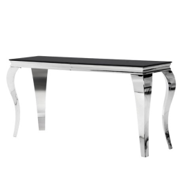 Black Glass Top Console Table