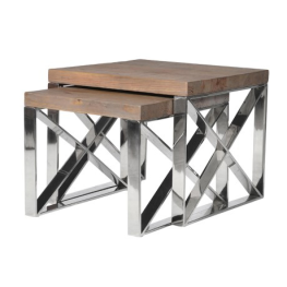 Wood/Steel Nest of 2 Tables