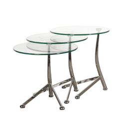 Terano Nest of 3 Round Glass Tables