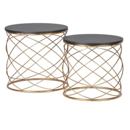 Set of 2 Gold Loops End Tables