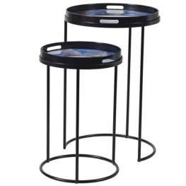 Set of Two Blue Marble Effect Side Tables
