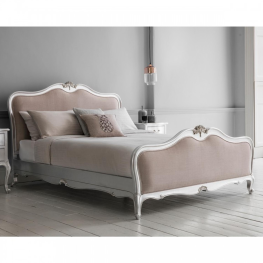 Chic 5' Linen Upholstered Bed Silver