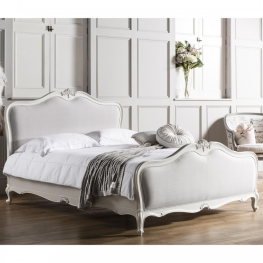 Chic 6' Linen Upholstered Bed Vanilla