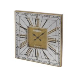 Libra vienna antique gold large square mirrored wall clock