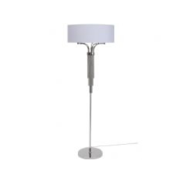 Libra langan floor lamp in nickel with white shade e14 40w