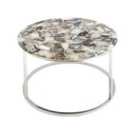 Libra agate round coffee table on nickel frame